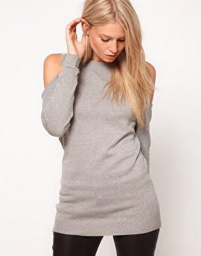 ASOS Jumper With Open Shoulders In Fine Knit at asos.com