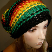 Black Green Yellow And Red Rasta Reggae Bob Marley Oversized Slouch Slouchy Chunky Striped Granola Beanie With Pom Pom