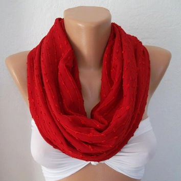 Red - Super Elegant - Infinity Scarf Loop Scarf Circle Scarf - Elegant - It made with good quality chiffon fabric....Super Loop