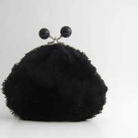 Frame Coin Purse -large black bead clasp- soft black fur