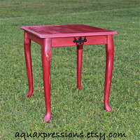 Red side Table /End Table /Nightstand/ Living Room /Bedroom Furniture /Shabby Chic