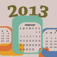 2013 Calendar Poster with midcentury modern shapes