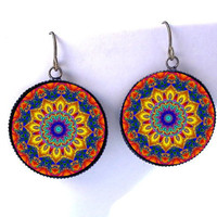 Moroccan Mandala Earrings -Psychedelic Rainbow Kaleidoscope Jewelry