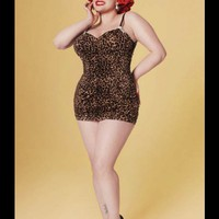 Leopard Print Swimsuit - The Marilyn 1pc Retro Swimsuit by Pinup Couture - Leopard in Plus Size - Plus Size - Clothing | Pinup Girl Clothing