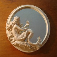 GORGEOUS MERMAID MIRROR w/ STARFISH Nautical Beach Seaside Ocean Home Decor NEW