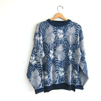 Vintage retro 80s sweater. blue, gray and white floral sweater. Geometric pullover. retro top.
