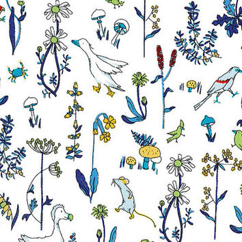 Liberty Tana Lawn Fabric - Liberty Japan - Cute Flower & Bird, Alice Theo White - Liberty Print  Cotton Scrap, Quilting Patchwork - NT15SS33