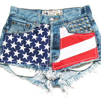 American flag high waisted shorts L