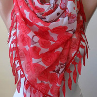 Silk and Chiffon Scarf with Red Trim Edge - Romantic - Roses and Butterflies -  Red - Coral -