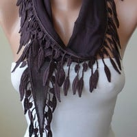Autumn - Brown-Dark Purple Cotton Scarf with Brown Trim Edge