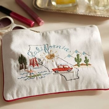 CALIFORNIA EMBROIDERED POUCH
