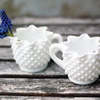 VIntage Hobnail Milk Glass Creamer and Sugar Bowl by VintageSoup
