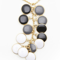 Enamel Disc Cluster Necklace - One