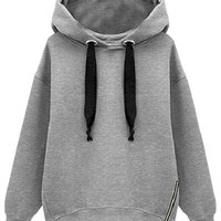 Sheinside Women's Grey Hooded Long Sleeve Drawstring Loose Sweatshirt (One Size, Grey)