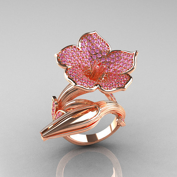 Designer Exclusive 14K Rose Gold Light Pink Sapphire Angels Trumpet Flower and Vine Ring NN123-14KRGLPS