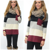 Pocket Full Of Cozy Burgundy Colorblock Pocket Top