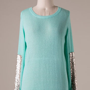 Mint Sweater with Champagne Sequins