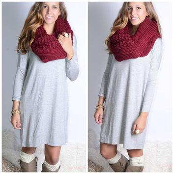 Everest Eves Heather Gray Solid Long Sleeve Dress