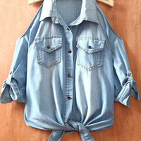Light Blue Off the Shoulder Pockets Denim Shirt - Sheinside.com