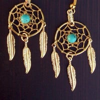 SUN and SKY ll -Gold &amp; Turquoise dream catcher earrings