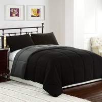 Cozy Beddings Reversible Down Alternative Comforter Set, Twin/Twin XL, Black, Grey