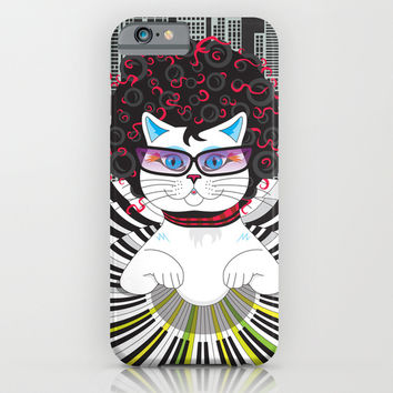 Cat Pianist iPhone & iPod Case by Ornaart
