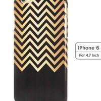 Sky2light,golden Chevron Iphone 6 Case,wood Chevron Image Case,new Iphone 6 Cover,personalized 4.7 Inch Iphone 6 Case