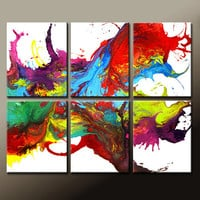 6pc Abstract Canvas Art Paintings 48x40&quot; Contemporary Original Wall Art Set  by Destiny Womack - dWo -  On The Wildside - SALE