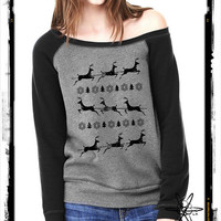 Christmas Reindeer Bella Wide neck Sweatshirt Off the shoulder slouchy long sleeve shirt silkscreen screenprint