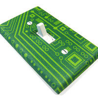 Light Switch Cover Green Circuit Board Computer Geek Home Office Decor Gift 850