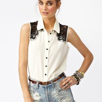 Fringed Lace Shirt - Ivory