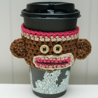 Monkey Coffee Cozy Dark Pink by lisavonli on Etsy