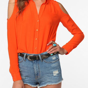 Sparkle & Fade Cold Shoulder Silk Blouse