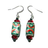 Green and Red Rectangle Ceramic Beaded Earrings, Sterling Silver