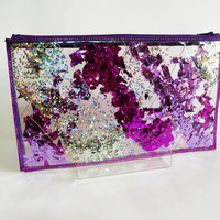 Pink Makeup Bag Cosmetic Case Holographic Glitter Pencil Case Toiletry Bag in Stargazer