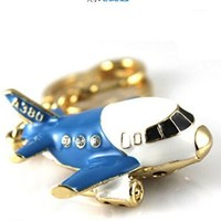 Small Plane Model Car Key Buckle, Waist Hung Men Creative Gifts, Birthday Gift Key Ring Chain (blue)
