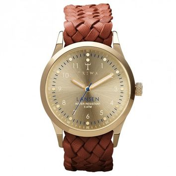 Triwa Gold Lansen Wrist Watch w/ Brown Leather Braided Band