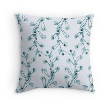 Floral Blue Throw Pillow by Heart of Hearts Designs on RedBubble