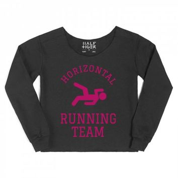 Horizontal Running Team Pink-Female Black Hoodie