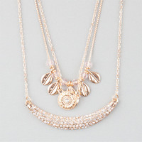 Full Tilt 3 Piece Leaves/Stone/Bar Necklaces Gold One Size For Women 25142762101