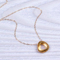 "Gold Heart necklace, heart necklace, double heart necklace, bridesmaid necklace, valentines day,  big heart, ""Phusis"""