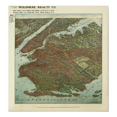 Vintage 1908 Brooklyn NY Bird's Eye View Map Print from Zazzle.com