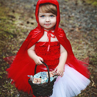 Lil&#x27; Red Riding Hood Sewn Tutu Cape and headband by mom2twogals