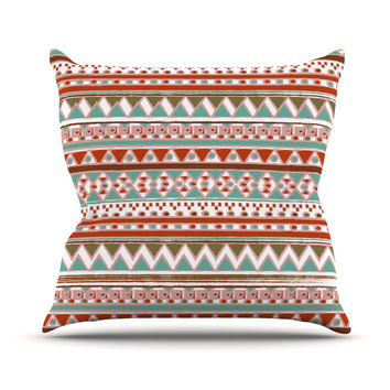 "Nika Martinez ""Boho Mallorca"" Red Multicolor Outdoor Throw Pillow"