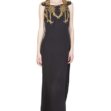 ZARDOZE Gota Embroidered Long Dress in Black