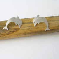 Silver Studs - Dolphin Earrings - Hand Cut - Sterling Silver