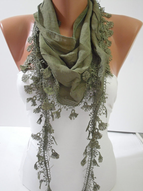 Green Shawl / Scarf - Headband - Cowl with  Lace Edge