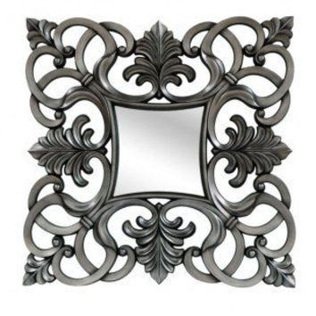 Crestview Beveled Square Scrolled Wall Mirror in Pewter - CVMRA243A - Mirrors - Decor