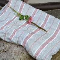 2 Pre-washed Linen Bath Sheet With Red Stripes 98x145cm / 38.6 x 57 inches