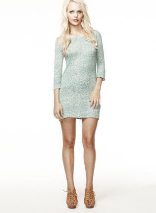 Teal 3/4 Length Sleeve Jersey Dress